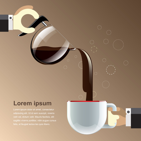 Coffee cup realistic and reflection for use content layout  vector illustration  Vector