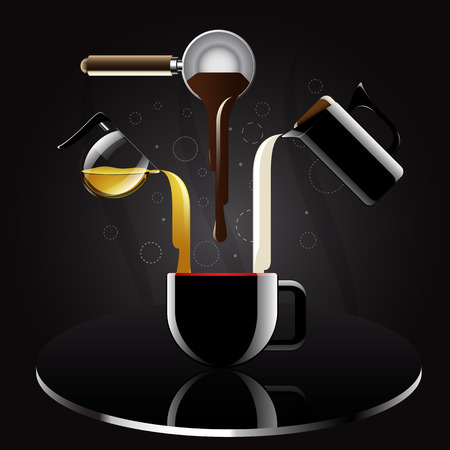 Coffee recipe realistic and reflection with luxury style  vector illustration  Vector