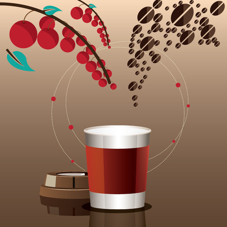 Mix recipe coffee to a cup background  Coffee tree concept  Vector