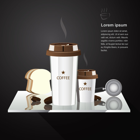 White cup of coffee hot and ice drop on wall stand  clear vector illustration  Vector