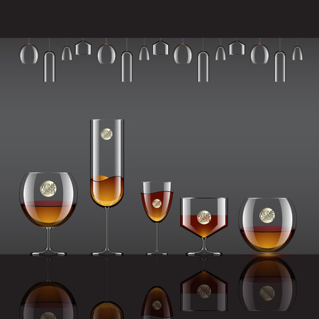 Drinks in Transparent glass and alcohol drinks  vector illustration  Vector