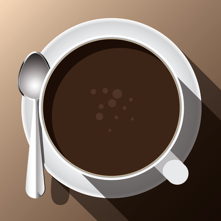 brew: A cup of hot coffee brew top view background  clear vector illustration
