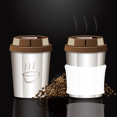 White cup of coffee Background  clear vector illustration  Vector