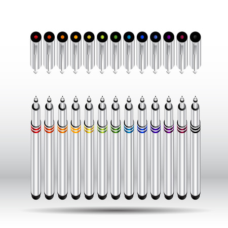 Ink pen colorful set 12 color  vector illustration  Vector