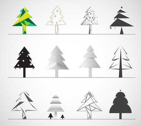 christmas tree flat icon isolated on white background
