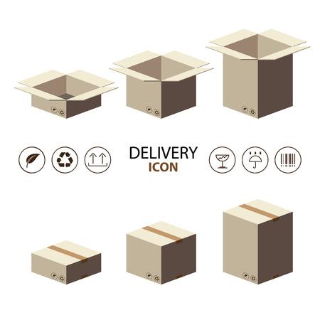 brown box: Riciclare confezione scatola marrone con consegna icona. illustratore vettoriale stile piatto