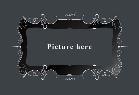 louis: Vintage calligraphic luxury frame border. vector illustration Illustration