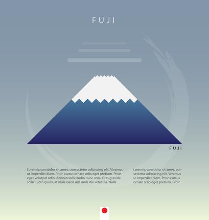 fuji mountain: Flat fuji mountain in japan page decoration. vector illustration Illustration