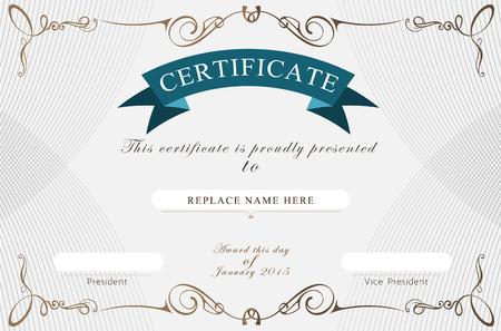 certificado: Certificado de frontera, plantilla de certificados. ilustraci�n vectorial