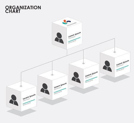 Organization chart infographics with tree. vector illustration