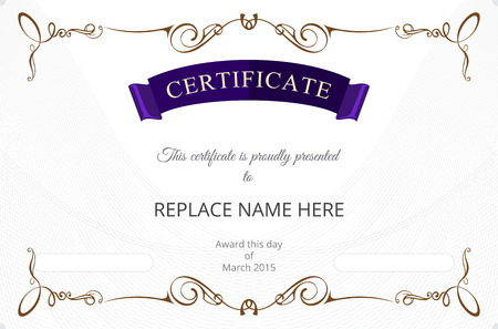 antiqued: Certificate border, Certificate template. vector illustration