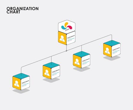 Organogram infographics met boom, Diagram flow. vector illustratie.