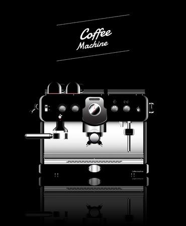 maquina vapor: Máquina de café negro realista. ilustración vectorial. Vectores