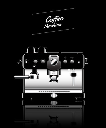 maquina de vapor: Máquina de café negro realista. ilustración vectorial. Vectores