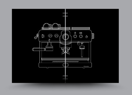 Coffee machine realistic black. vector illustration.