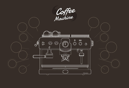 Coffee machine outline. vector illustration. Vectores