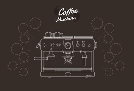 Koffiezetapparaat omtrek. vector illustratie.