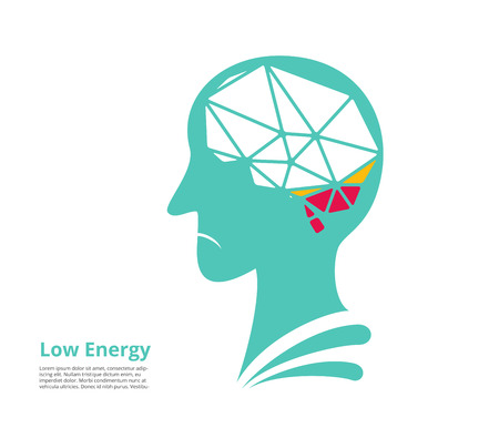 low energy: low energy, low power of brain. vector illustration
