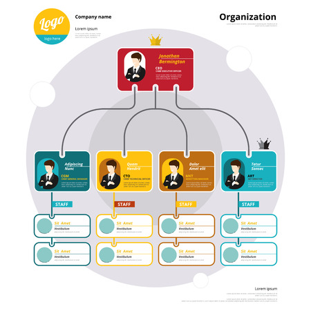Organization chart, Coporate structure, Flow of organizational. Vector illustration. Çizim