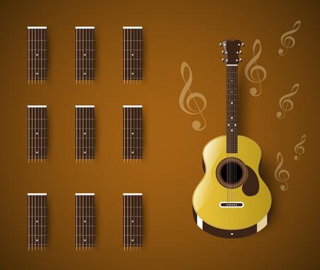 chord: Acoustic guitars chord blank template bar.