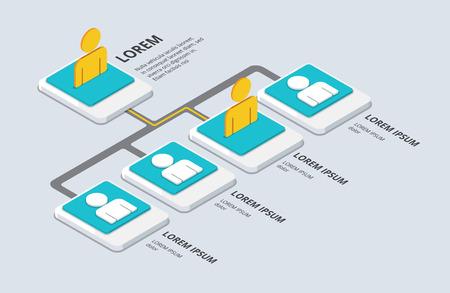 Isometrische organisatie en sturcture. vlakke 3d organisatie pop-up van de grond. vector illustratie Stock Illustratie