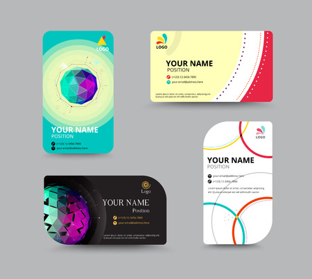 Business card template. name card design for business. include sample text layout. vector illustration. simple name tag design concept. Vectores