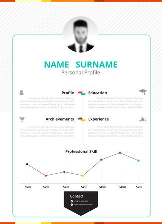 Zakelijke CV ontwerp sjabloon met commercieel ontwerp. vector illustratie