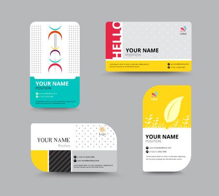 ビジネス カードのテンプレートです。ビジネス名カード デザイン。テキスト レイアウト サンプルにはが含まれます。ベクトル イラスト。簡易名タ