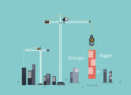construction project: Start up business building concept. start with bigger to new place. vector illustration Illustration