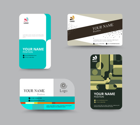 paper tag: Business card template, business card layout design, vector illustration