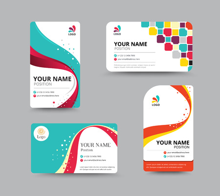 Business card template design with floral concept. vector illustration. Çizim