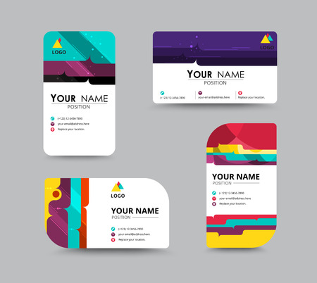 contrast: Business contact card template design. contrast color design. vector illustration.