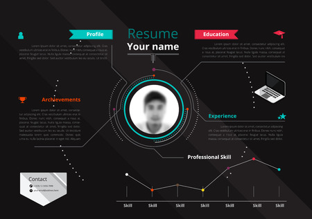 cv: Vector original minimalist cv  resume template - creative version