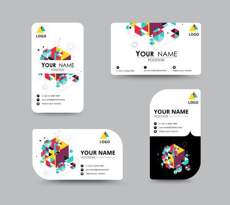 contact icon: Business greeting card template design. introduce card include sample text position. vector illustration design.