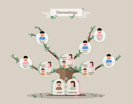 lineage: Genealogical tree. Family tree in flatdesign. Pedigree template. vector design.