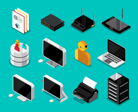 router: Isometric technology device set. vector illustration.