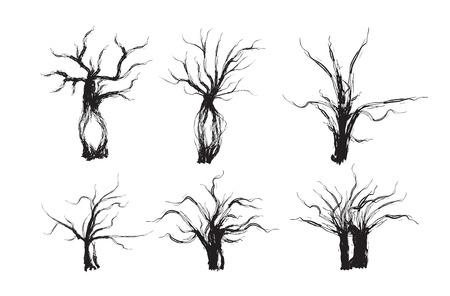 spooky tree: Spooky tree set. halloween tree. vector illustration.