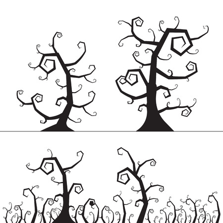 Spooky tree halloween element. vector illustration.