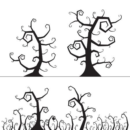 Spooky tree halloween element. vector illustration.