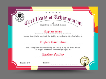achieve: Diploma certificate template design. vector illustration.