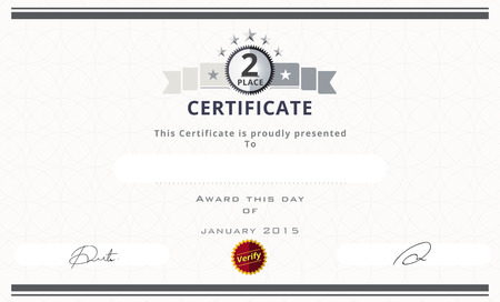 second place: Certificate template with second place concept. certificate border design. vector illustration