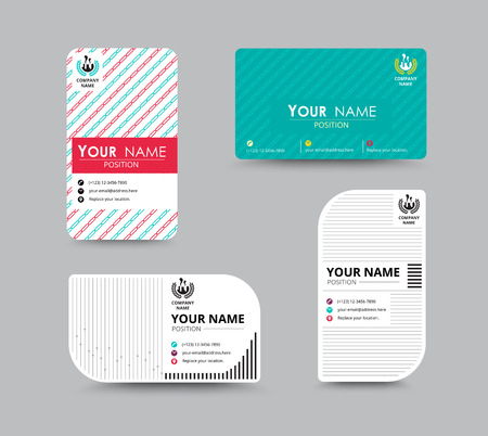 nametag: Business greeting card template design. introduce card include sample text position. vector illustration design.