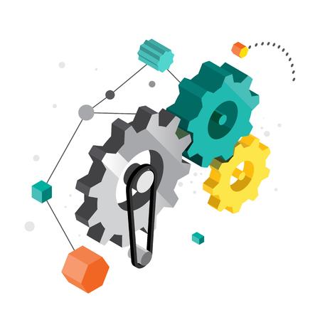 machines: Machines running gear with creative motivation. vector illustration Illustration