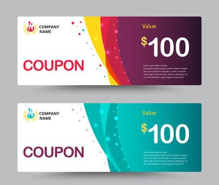 efectivo: Cheque regalo diseño de la plantilla de la tarjeta. de tiempo especial, Mejor de cliente, Gracias donaciones, y otra venta. ilustración vectorial.