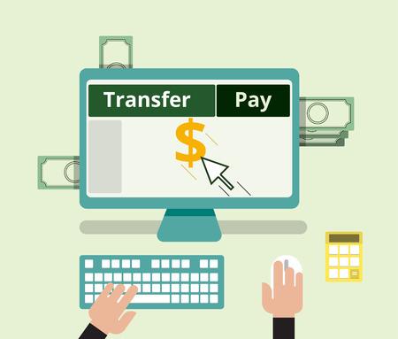 billing: Internet banking transfer and pay billing concept. flat design. vector illustration. Illustration