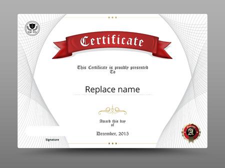 pergamino: Certificado frontera diploma, plantilla de certificados. ilustración vectorial