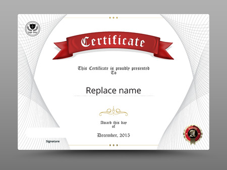 credentials: Certificate diploma border, Certificate template. vector illustration