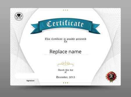 certificado: Certificado frontera diploma, plantilla de certificados. ilustración vectorial