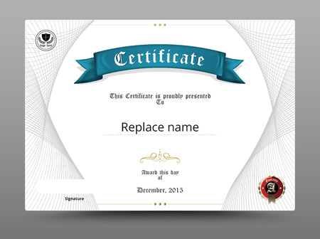 antiqued: Certificate diploma border, Certificate template. vector illustration