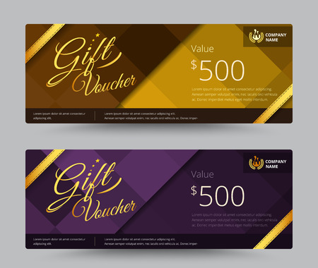 voucher: Gift voucher and coupon gold or purple color set. include sample text position. vector illustration.